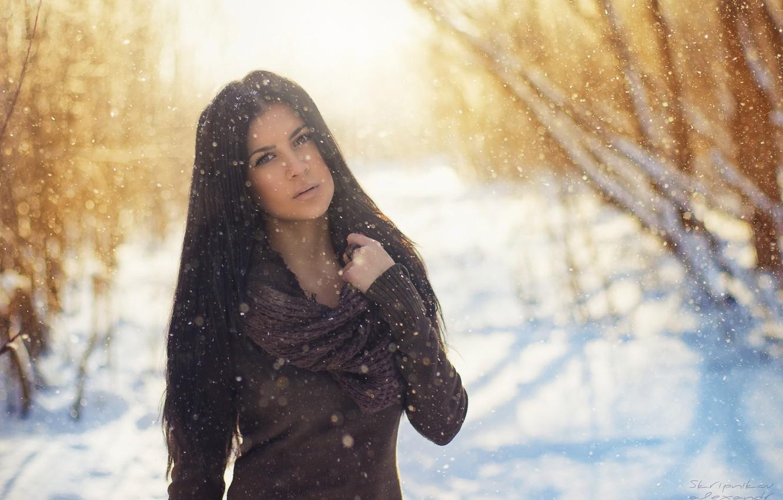 Photo wallpaper winter, girl, snow