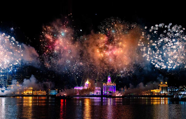 Photo wallpaper night, lights, salute, China, Shanghai, fireworks, harbour