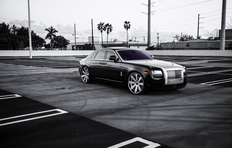 Photo wallpaper black, lights, Rolls Royce, Ghost, drives, black, rolls Royce