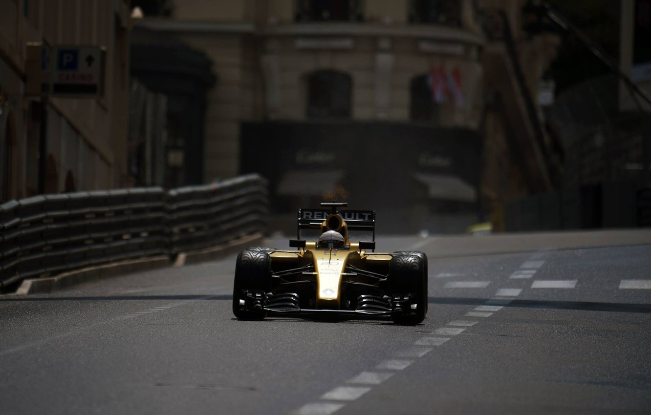 Photo wallpaper Renault, Formula 1, Monte Carlo, The front, Barriers, Magnussen