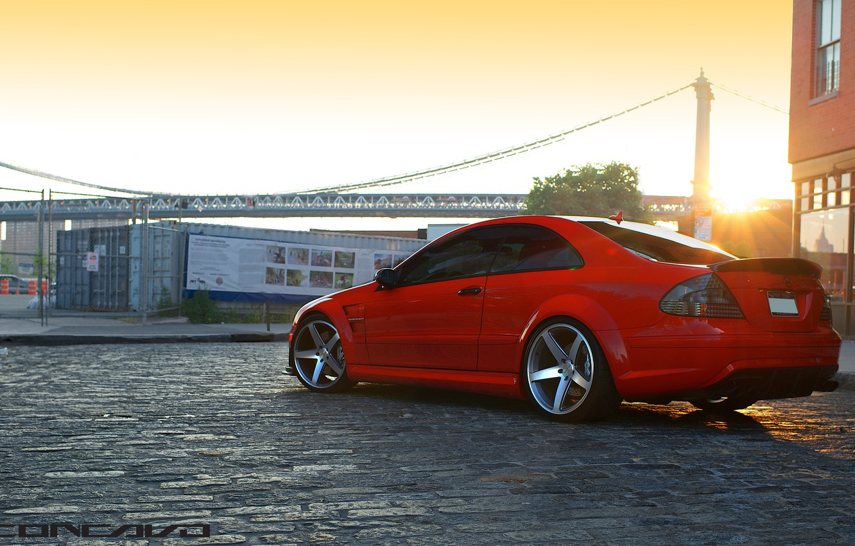 Photo wallpaper sunset, Mercedes Benz, AMG, Black Series, Concave, CLK63