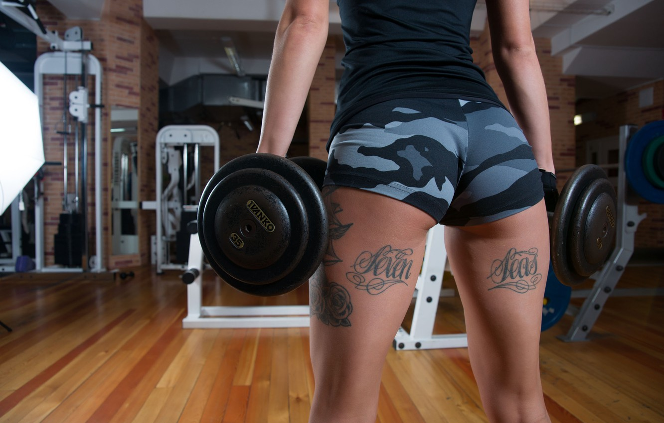 Photo wallpaper girl, style, figure, tattoo, legs, the gym, dumbbells