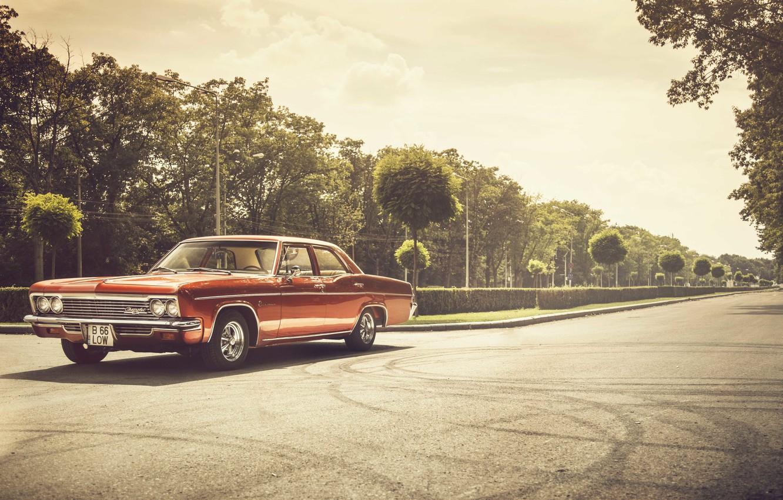 Photo wallpaper road, lights, shadow, Chevrolet, wheel, 1966, Impala