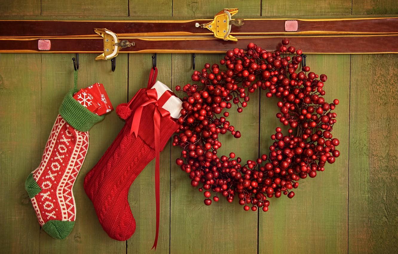 Photo wallpaper decoration, berries, New Year, Christmas, gifts, socks, Christmas, New Year, decoration