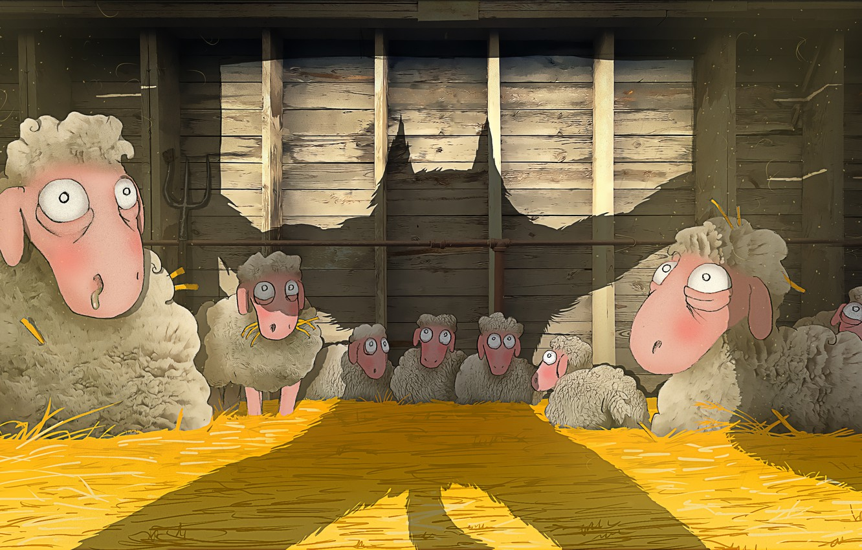 Photo wallpaper danger, sheep, wolf, shadow, art, hay, the barn, pitchfork