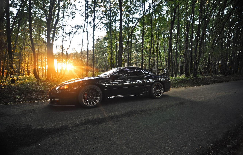 Photo wallpaper sunset, black, mitsubishi, Mitsubishi, cherty, 3000гт, 3000gt