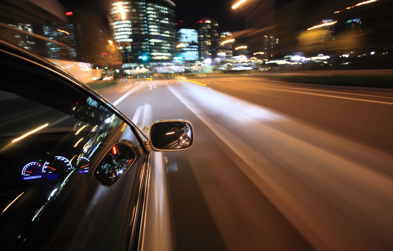 Photo wallpaper road, macro, lights, reflection, movement, city, markup, speed, panel, excerpt, blur, devices, the wheel, car, …