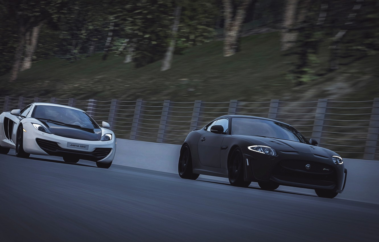 Photo wallpaper race, McLaren, Jaguar, MP4-12C