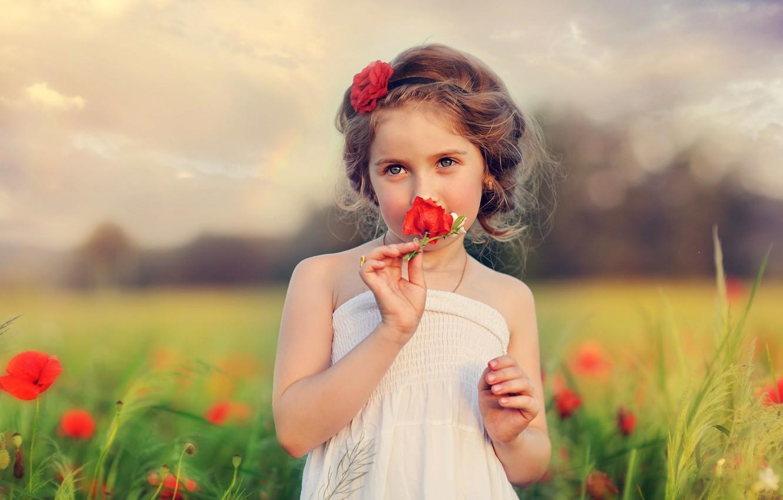 Photo wallpaper flowers, child, girl