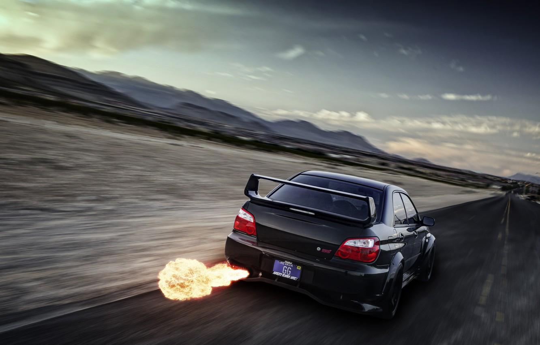 Photo wallpaper flame, speed, Subaru, Impreza, blur, black, WRX, black, exhaust, rear, Subaru, Impreza, STi