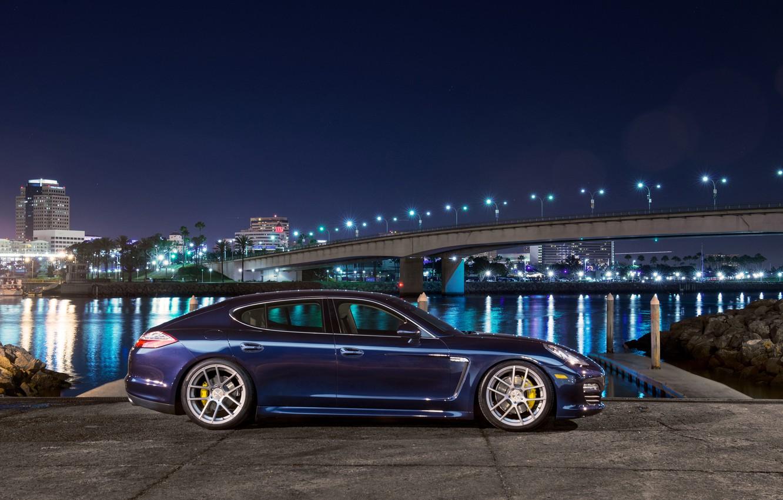 Photo wallpaper blue, profile, porsche, Porsche, blue, Panamera, panamera s