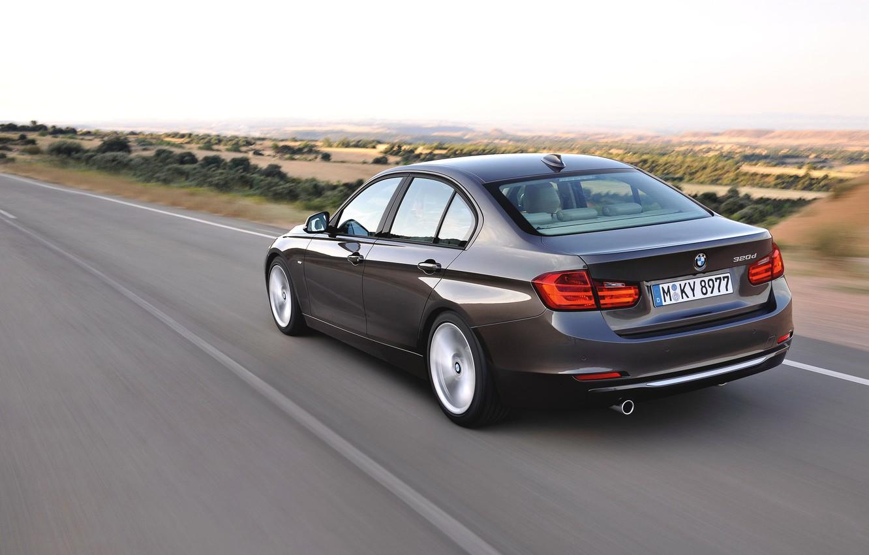 Photo wallpaper Auto, Road, BMW, Machine, Boomer, BMW, Day, Sedan, 3 Series, In Motion