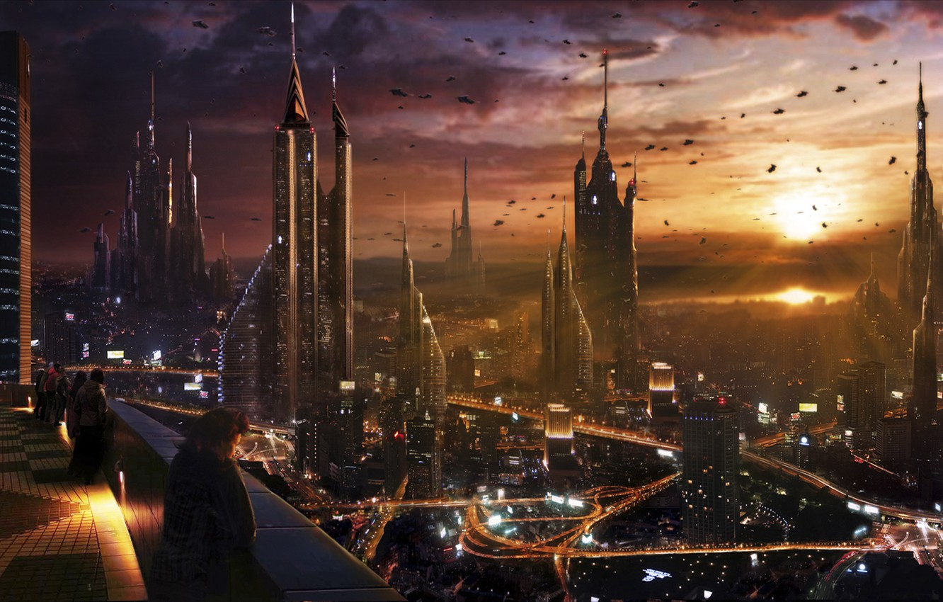 Photo wallpaper the city, future, art, megapolis