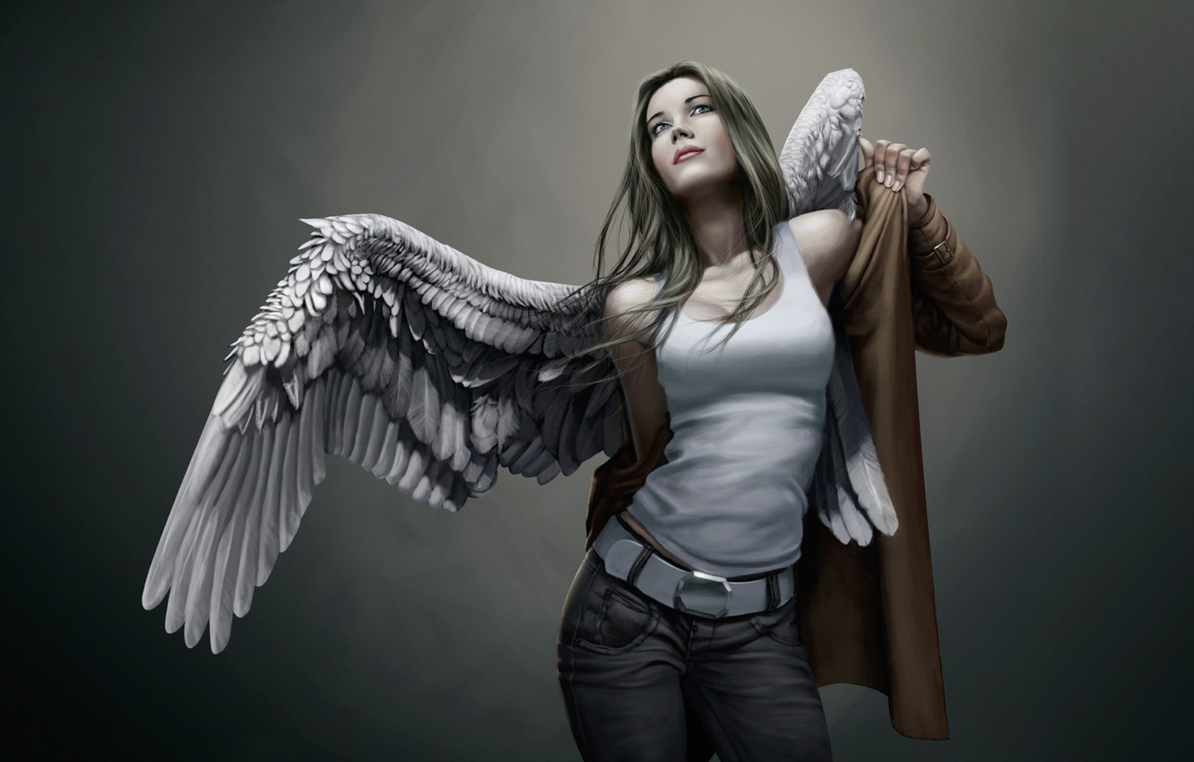 Photo wallpaper girl, wings, jeans, angel, Mike, cloak, dresses