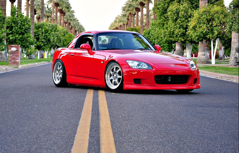 Photo wallpaper red, honda, road, s2000