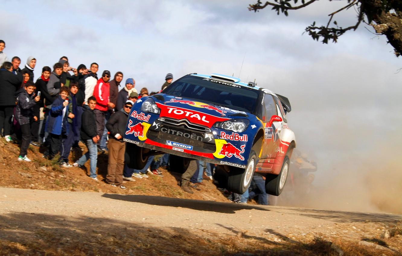 Photo wallpaper People, Citroen, DS3, WRC, Rally, Rally, Sebastien Loeb, The front, In The Air, Flies, Daniel …