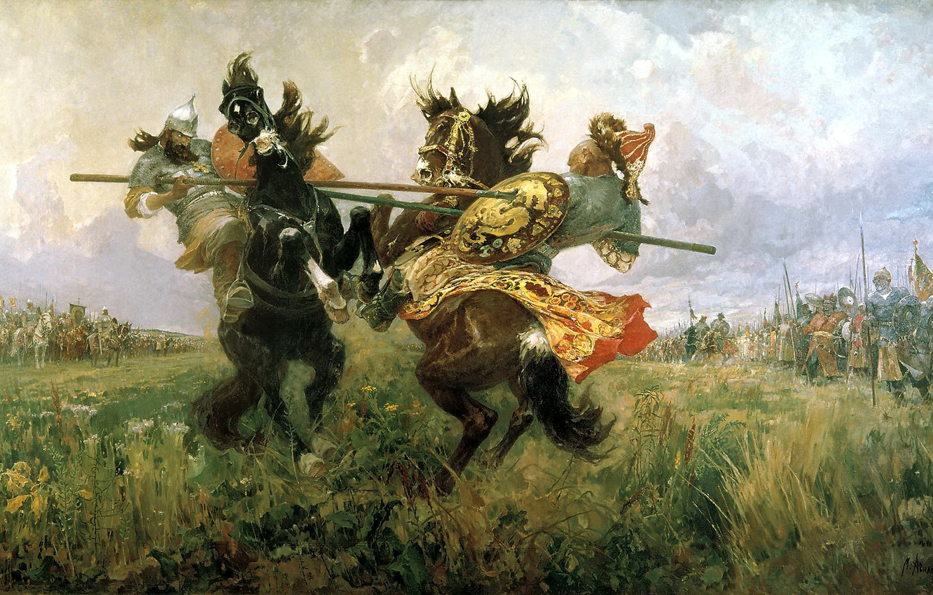 Photo wallpaper oil, Canvas, Duel on the Kulikovo field, Mikhail Ivanovich Avilov, Peresvet and Chelubey