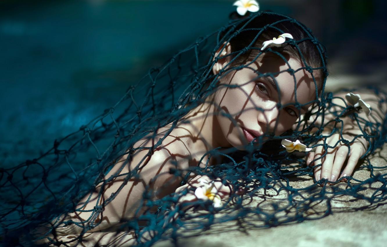 Photo wallpaper girl, flowers, network, mermaid, shadow, Daniel Ilinca, Where, Meet, The Ocean, The Stones