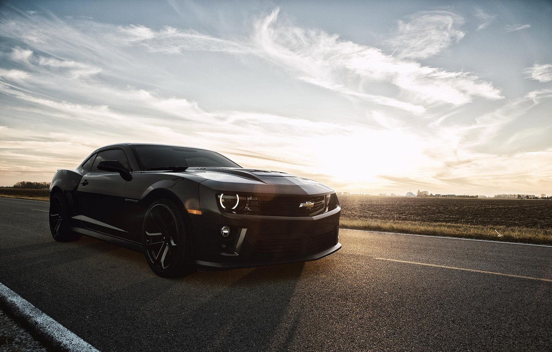 Photo wallpaper Chevrolet, Muscle, Camaro, Car, Sky, Black, Sun, Road, ZL1