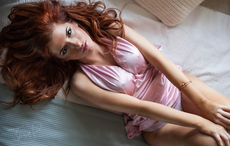 Photo wallpaper look, girl, lips, photographer, redhead, lying, Jack Russell