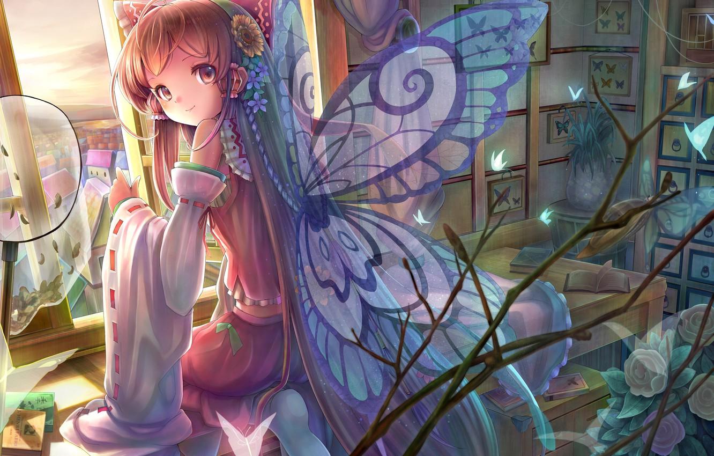 Photo wallpaper butterfly, flowers, smile, table, room, wings, window, art, girl, book, touhou, sitting, hakurei reimu, sanntouhei