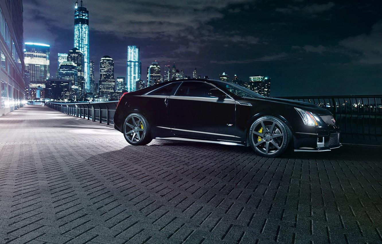 Photo wallpaper night, the city, lights, black, Cadillac, black, CTS-V, Cadillac