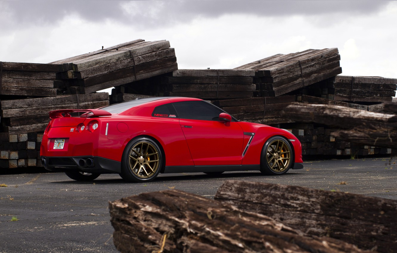 Photo wallpaper red, red, Nissan, GT-R, sports car, Nissan, rearside