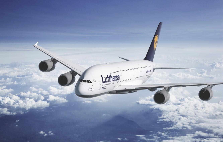 Photo wallpaper The sky, Clouds, The plane, Liner, Height, A380, Lufthansa, Passenger, Airbus, Star Alliance, Lufthansa