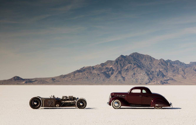 Photo wallpaper desert, hot rod, cars, rat rod