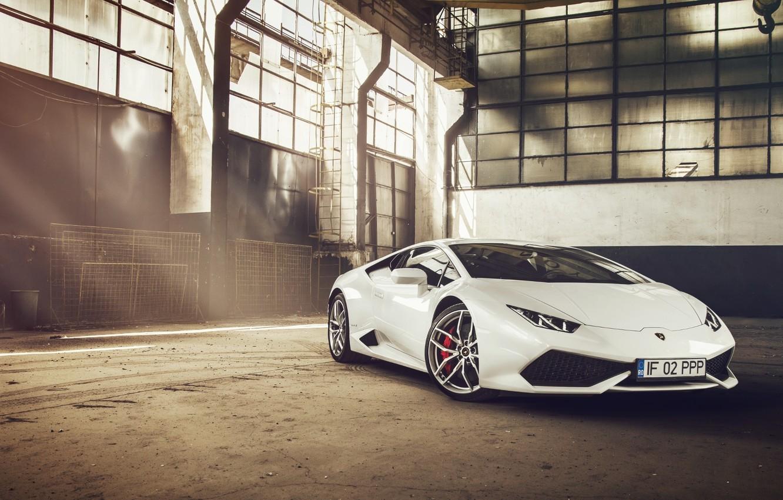Photo wallpaper Lamborghini, Front, White, Supercar, Huracan, LP610-4