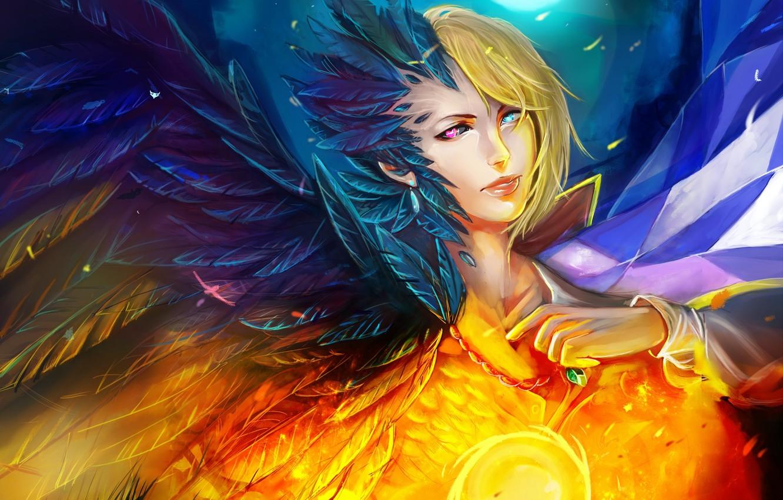 Photo wallpaper girl, bird, magic, ball, wings, feathers