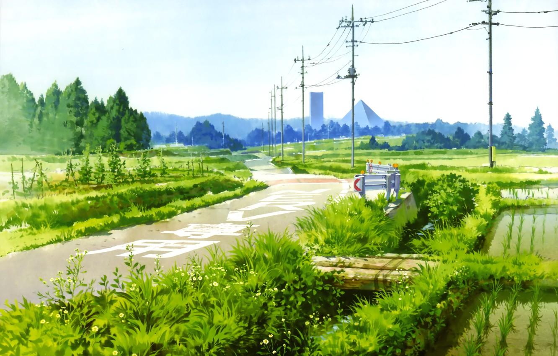Photo wallpaper road, the sky, grass, stream, posts, wire, Japan, pyramid, the bridge, Neon Genesis Evangelion, rice …