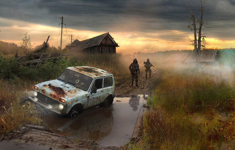 Photo wallpaper people, swamp, village, soldiers, Chernobyl, stalker, area, Niva
