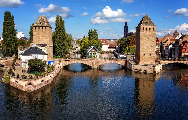 Photo wallpaper the sky, bridge, river, France, home, channel, Strasbourg