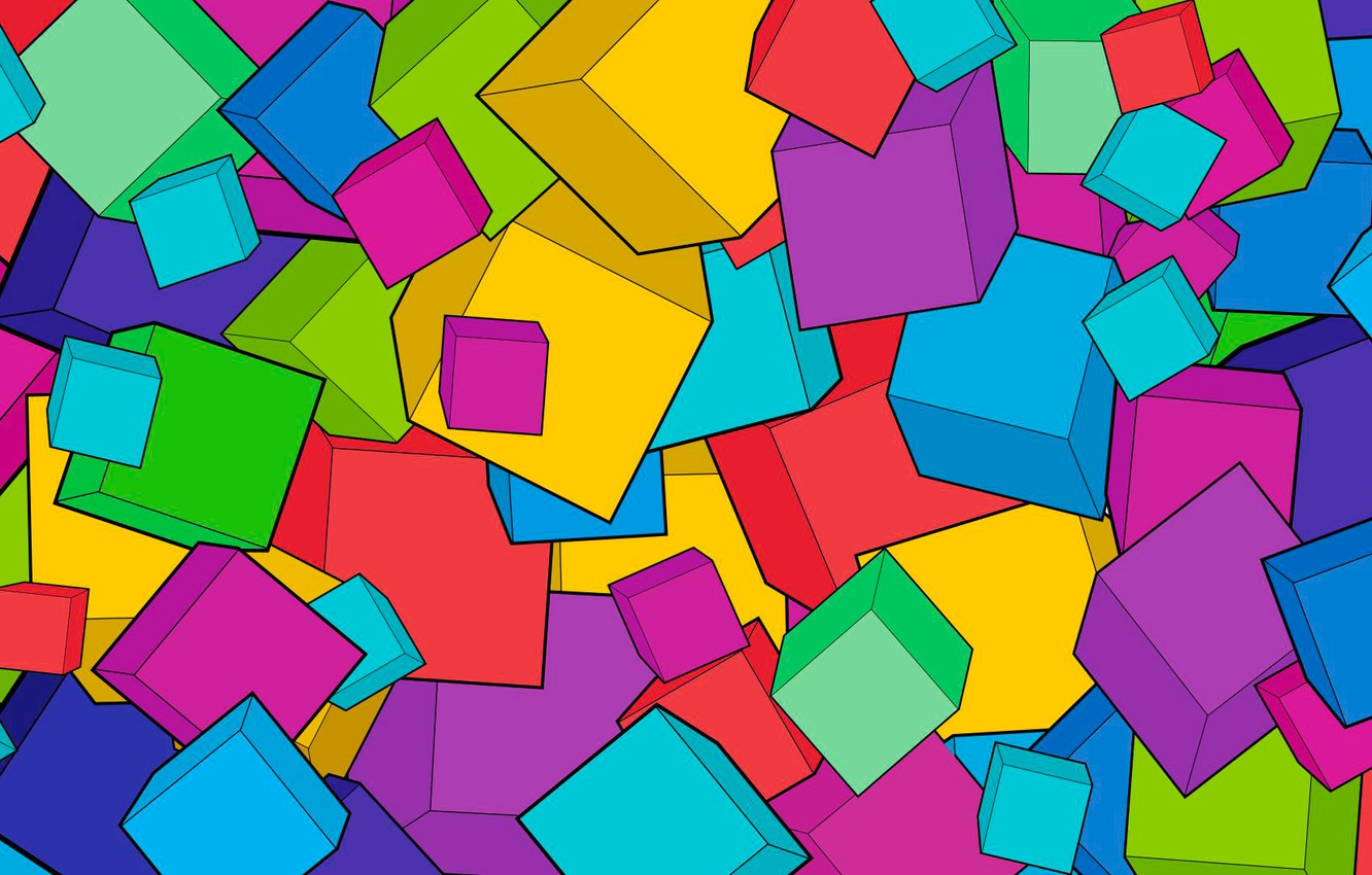 Photo wallpaper abstraction, background, cubes, bright, cube, bright, art, cube, fone