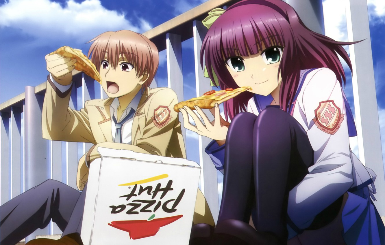 Wallpaper box, form, pizza, angel beats, yuri nakamura