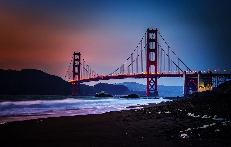 Photo wallpaper City, Nature, Sky, Bridge, Water, Sunset, San Francisco, Golden, Sand, Ocean, Scenic, Gate, Baker
