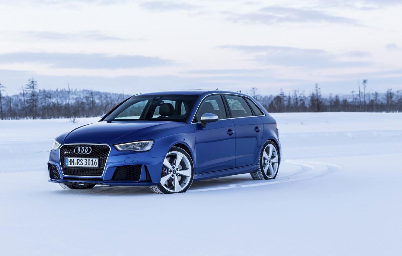 Photo wallpaper photo, Audi, Blue, Snow, Car, Sportback, RS3, 2015, Metallic