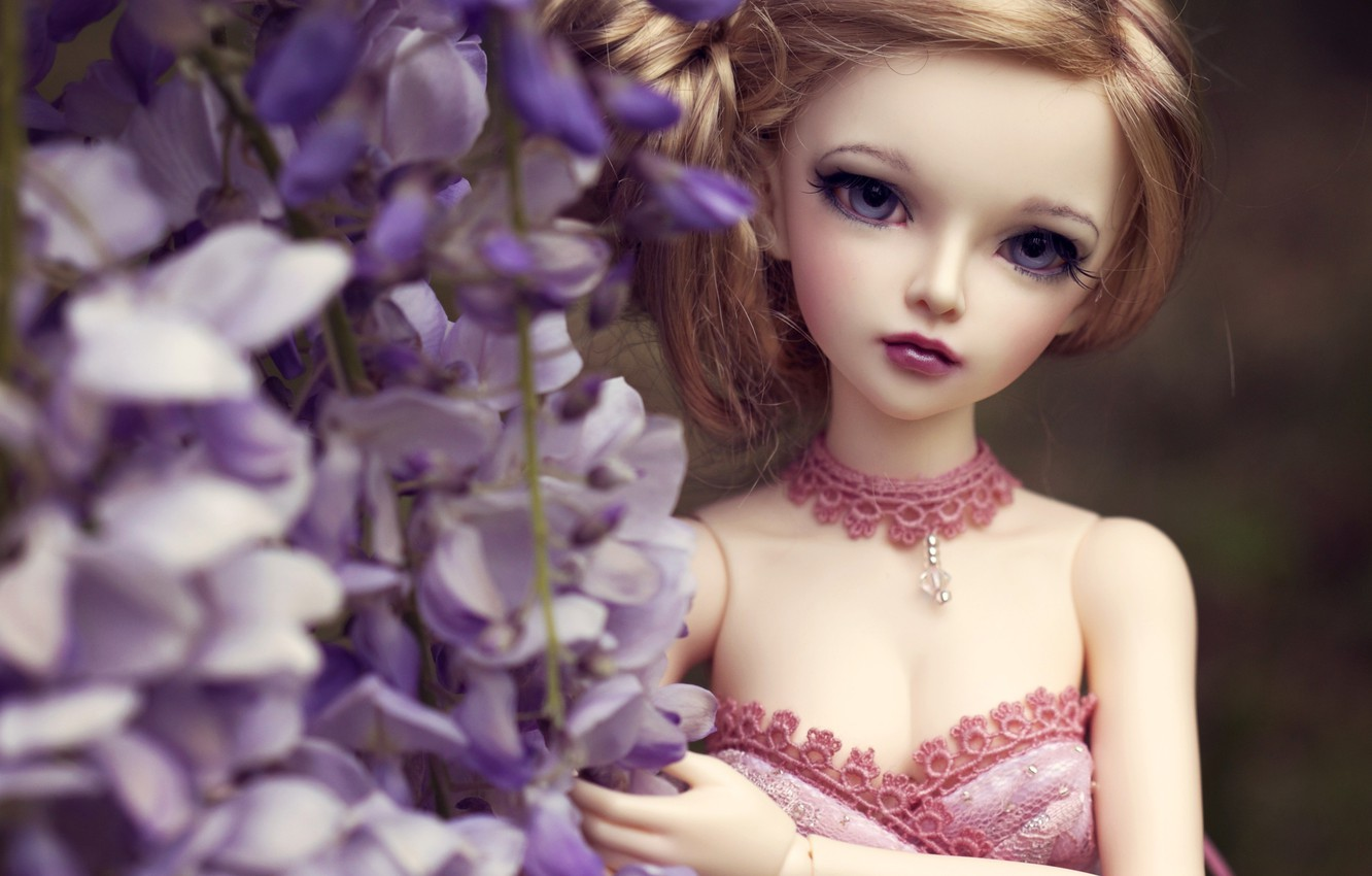 Photo wallpaper look, flowers, toy, doll