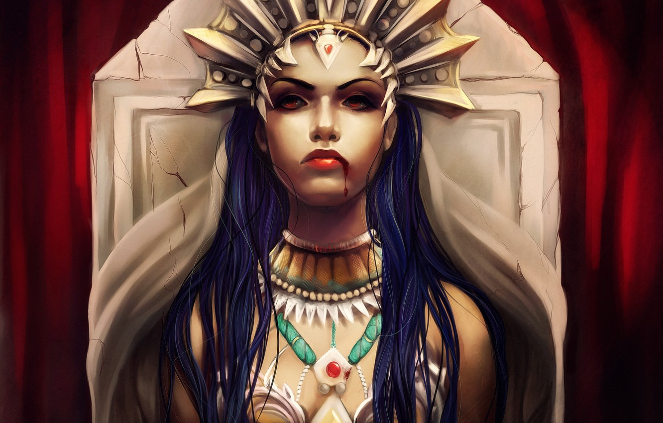 Photo wallpaper look, girl, blood, crown, Akasha, Queen of the damned