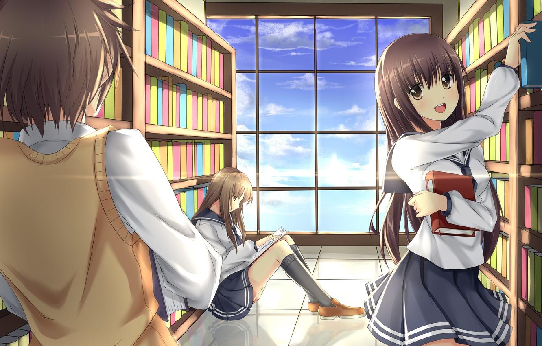 Photo wallpaper girls, books, anime, art, form, library, guy, students, akabane