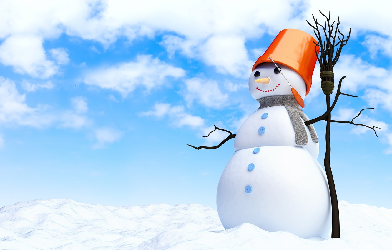 Photo wallpaper snow, new year, snowman, broom, new year, snow, merry christmas, snowman, broom, merry Christmas