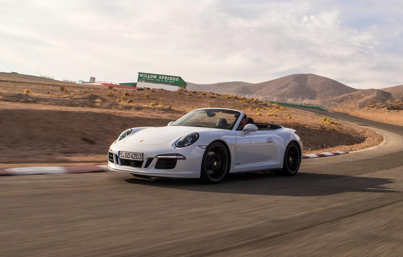 Photo wallpaper auto, white, speed, 911, Porsche, sports car, convertible, Porsche, Cabriolet, Carrera 4 GTS