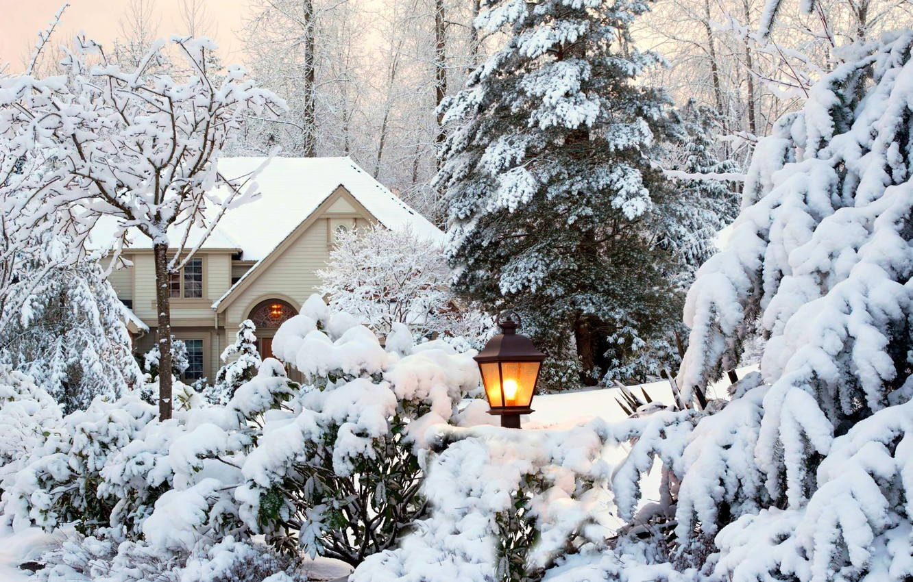 Photo wallpaper winter, the sky, snow, trees, landscape, nature, house, Park, garden, lantern, house, white, sky, trees, …
