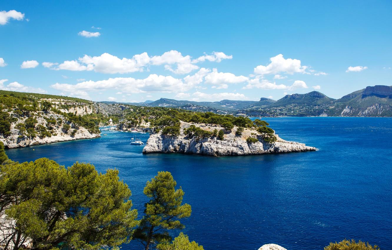 Photo wallpaper sea, rocks, shore, France, Bay, boats, boats, Marseille