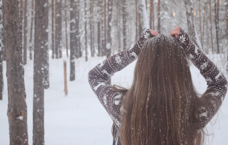 Photo wallpaper winter, girl, snow, trees