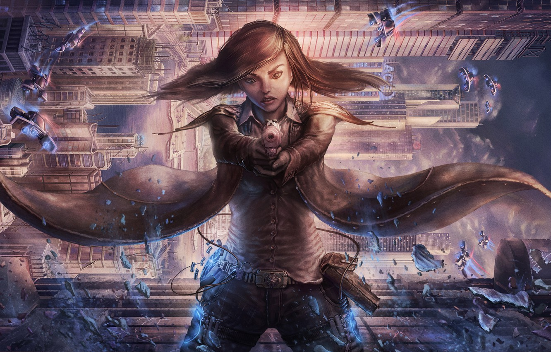 Photo wallpaper girl, the city, gun, fiction, skyscrapers, cloak, cyberpunk, antigravity