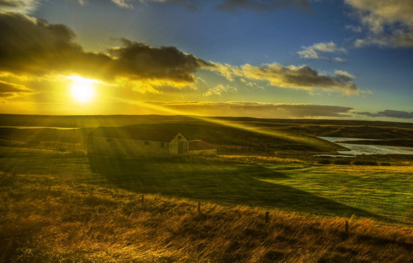 Photo wallpaper field, grass, the sun, rays, light, nature, house, landscapes, morning