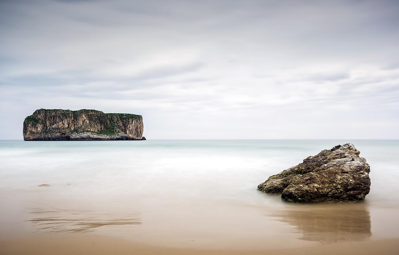 Photo wallpaper sea, landscape, rocks, Spain, Andrín, Asturias