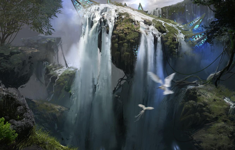 Photo wallpaper birds, nature, fiction, waterfall, art